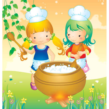 two girls: two girls cooking Illustration
