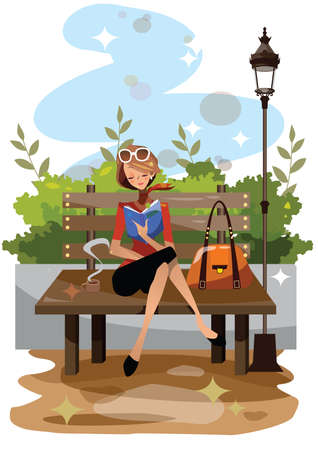 lady with the lamp: woman reading a book in a park