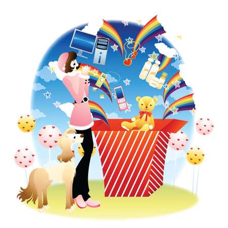 playthings: girl and dog with gift bag