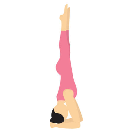 headstand: girl practising yoga in supported headstand pose