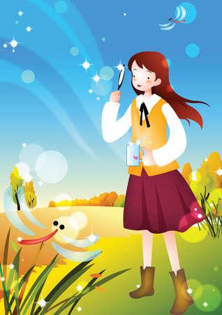 bulles de savon: fille de gonflement des bulles de savon Illustration