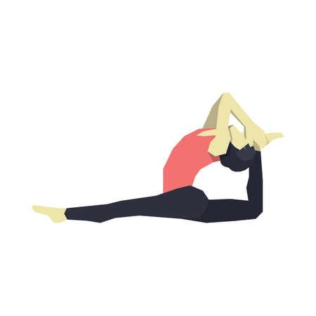 variation: girl practising yoga in monkey pose variation