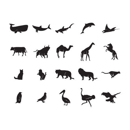 bull shark: collection of animal and bird silhouettes Illustration