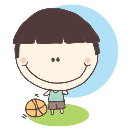boy basketball: boy with basketball