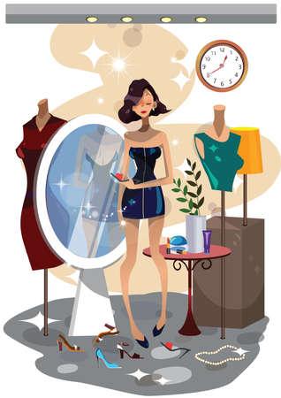 Frau in einer Umkleidekabine