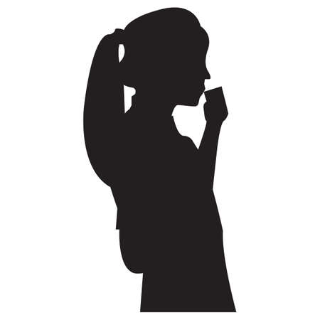woman drinking coffee: silhouette of woman drinking coffee Illustration