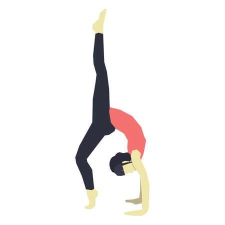 ragazza praticare lo yoga in posa ruota variazione