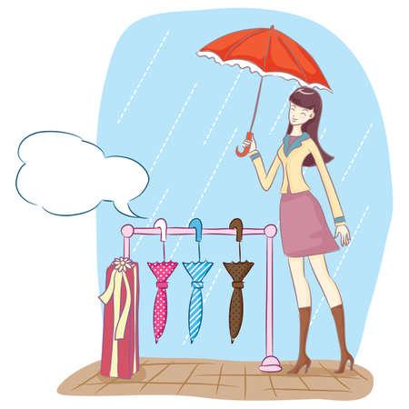 girl in rain: girl with umbrella in the rain