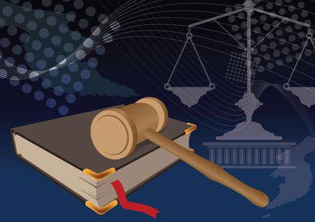 jurisdiction: gavel on a book Illustration