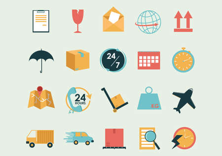 twenty four hour: collection of logistic and shipping icons