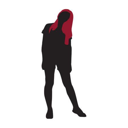 tilt: silhouette of girl standing with tilt head