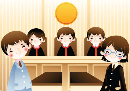 court room: group of law students in a court room