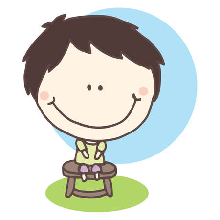 stool: boy sitting on stool Illustration