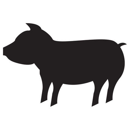 pig out: silhouette of pig Illustration