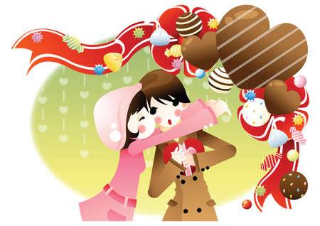 cheek: girl kissing her lover on cheek Illustration