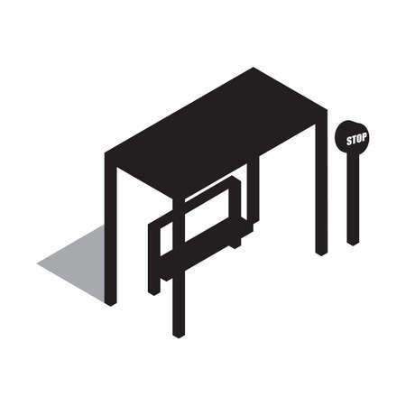 bus stop: silhouette of bus stop