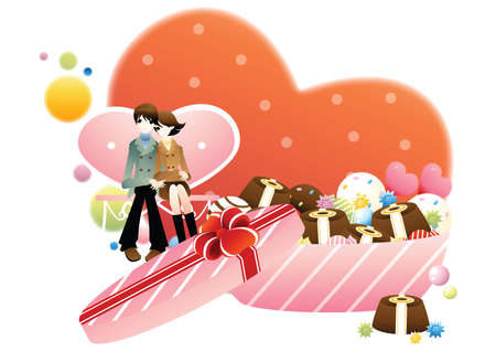 packets: love couple with candy box