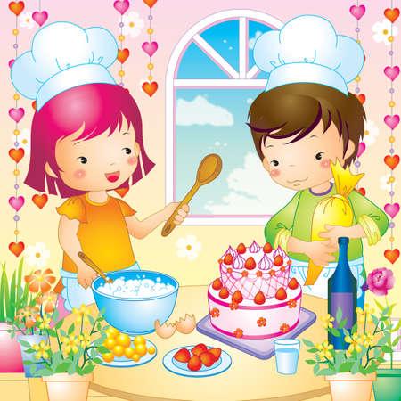 meisje en jongen het bakken van een cake Vector Illustratie