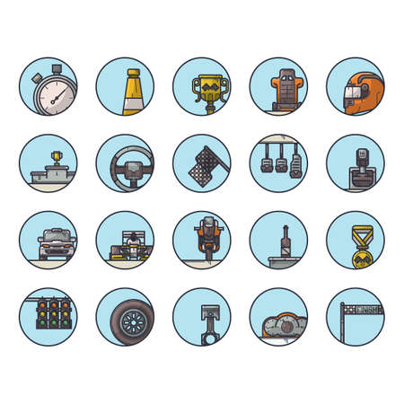 four wheeler: collection of motor race equipment Illustration