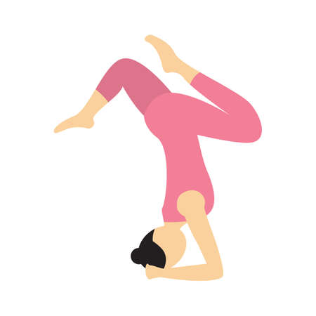 varied: girl practising yoga in varied supported headstand pose