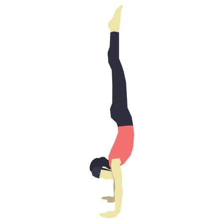 hand stand: girl practising yoga in hand stand pose