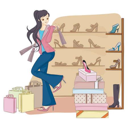 footwear: girl in footwear shop
