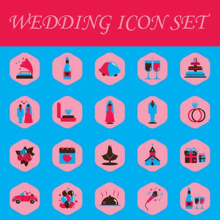 marriage bed: set of wedding icons Illustration