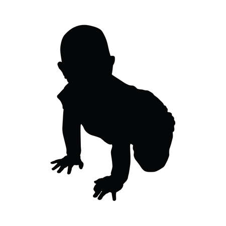 baby crawling: silhouette of baby crawling