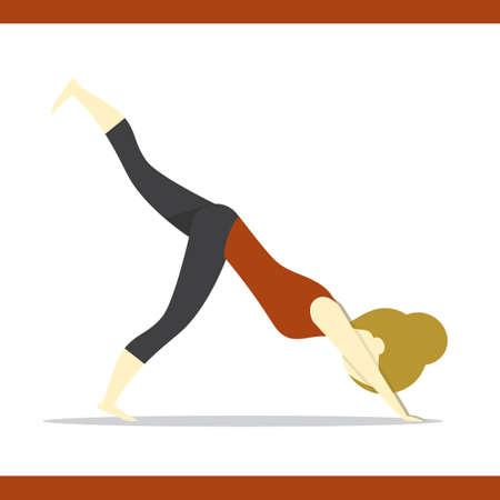 varied: girl practising yoga in varied downward dog pose