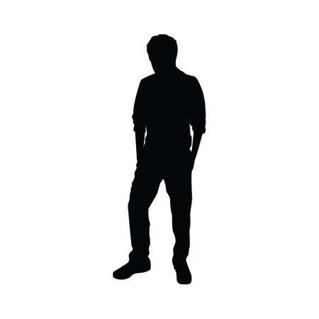 guy standing: silhouette of man standing Illustration