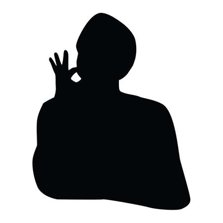 alright: silhouette man with hand gesture