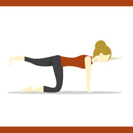 variation: girl practising yoga in cat pose variation Illustration