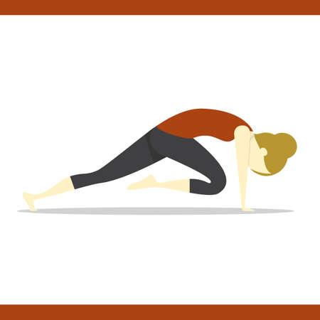 plank: girl practising yoga in plank pose variation