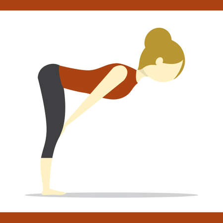 bend: girl practising yoga in standing half forward bend pose