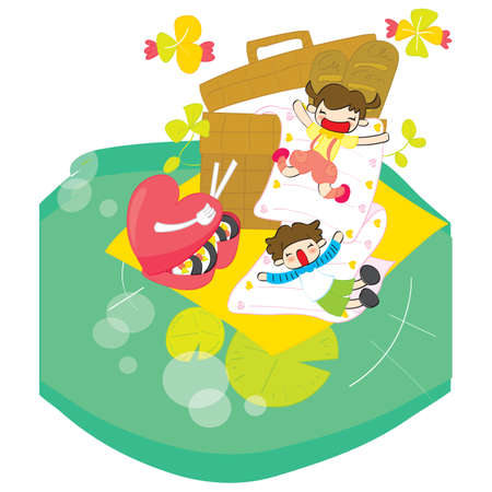 oversize: children having picnic Illustration