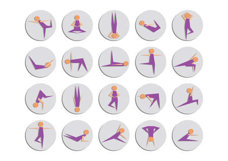 yoga asana tree pose: set of yoga icons