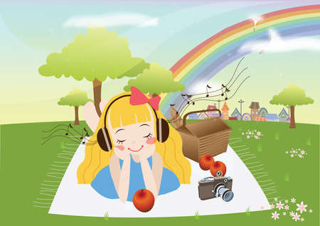 listening to music: girl listening to music in park Illustration
