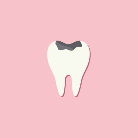 cavities: tooth with cavity Illustration