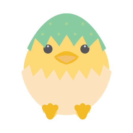 eggshells: happy easter egg new born chick Illustration