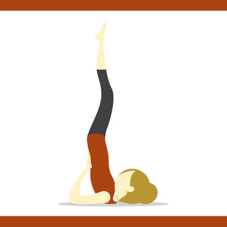 supported: girl practising yoga in supported shoulderstand pose