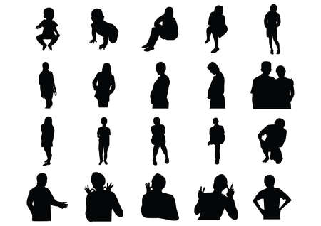 man back view: silhouette of people Illustration