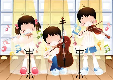 kids playing guitar Vector Illustration