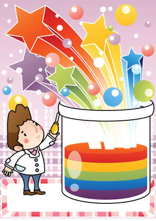 science experiments: doctor with dropper and beaker Illustration