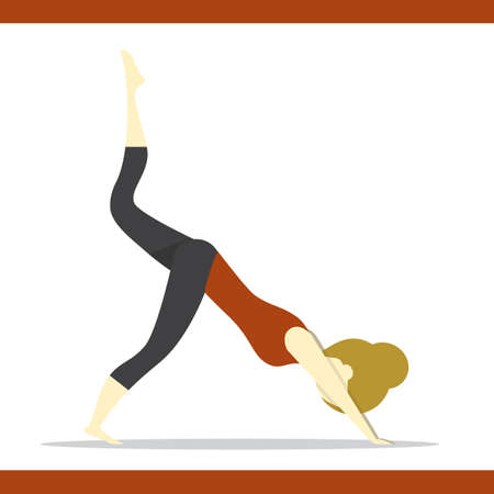 downward: girl practising yoga in varied downward dog pose
