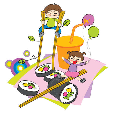 oversize: children playing with oversize food Illustration