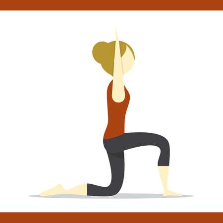lunge: girl practising yoga in low lunge pose