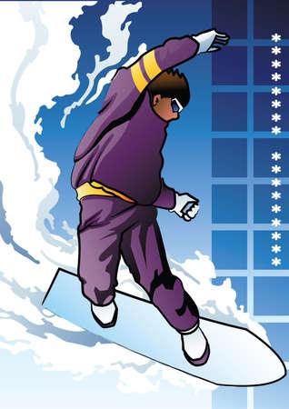 boarder: surf boarder in action Illustration