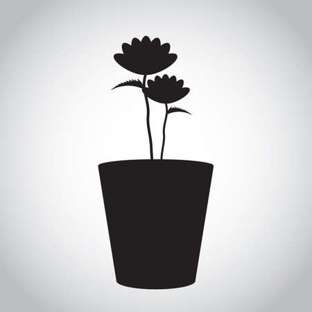 potted: silhouette of potted plant with flowers