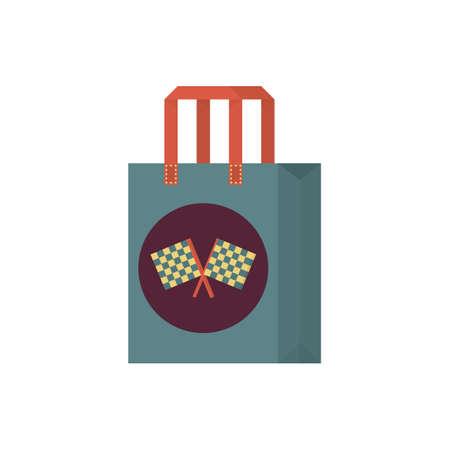 checker flag: shopping bag