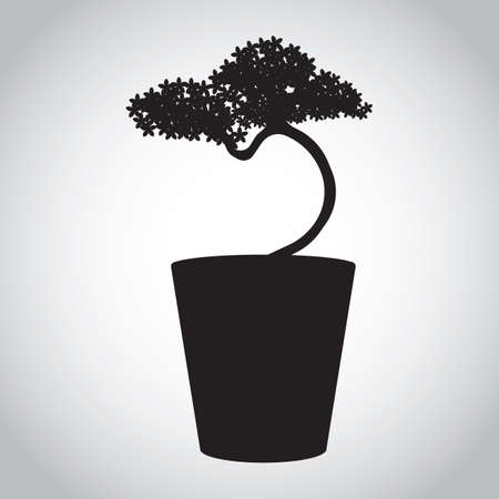 potted plant: silhouette of potted plant